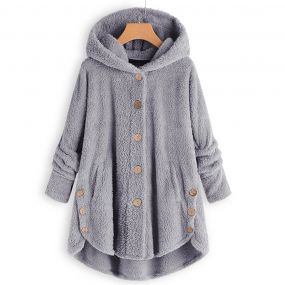 Plus ზომა Faux shearling Buttons Hooded Coat