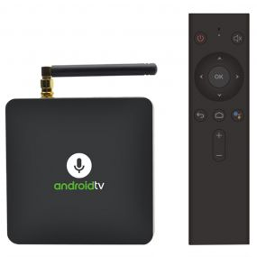 MECOOL KM8 Google Certified Android TV Box ხმის დისტანციური Amlogic S905X Android 8.0 2GB RAM + 16GB ROM VP9 HDR10 Dolby აუდიო მხარდაჭერა Youtube 4K