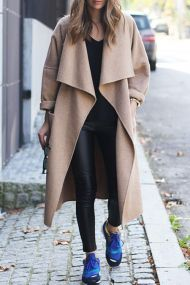 Stylish Turn Down Collar მკლ Light Camel ქალთა Coat