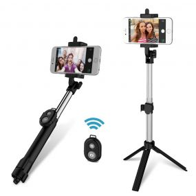 gocomma 3 in 1 ხელის Extendable Bluetooth Selfie Stick Tripod Monopod Remote for iOS iPhone Android Smart ტელეფონი