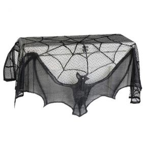 Halloween შ.პ.ს. Haunted House Gothic Black Lace Spider Web ფარდები